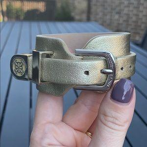 Rustic Cuff Buckle Wrap Gold Leather Bracelet